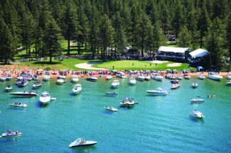 Boats surround the 17th green during the American Century Championship. The 26th annual celebrity golf tournament tees off Friday at Edgewood Tahoe Golf Course.