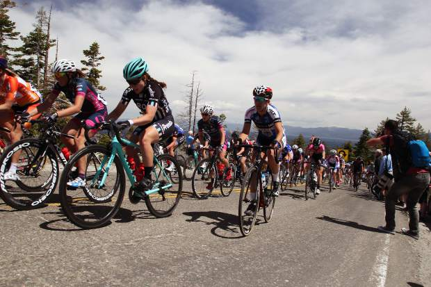 Women climb toward Emerald Bay during the Queen of the Mountain segment of Stage 1 of the Amgen Tour of California.