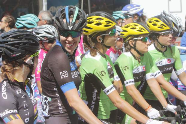 Female competitors line up for the start of Stage 1 of the Amgen Tour of California Women's Race Thursday morning.