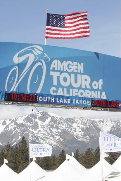 Mount Tallac is seen underneath the finish line of the Amgen Tour of California at Heavenly Mountain Resort's California Lodge.
