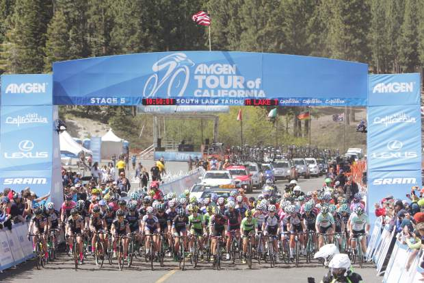 Professional cyclists depart for Stage 1 of the Amgen Tour of California Women's Race at Heavenly Mountain Resort's California Lodge Thursday morning, May 19.
