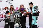 Jamie Anderson stands on the podium after winning the Olympic test event in PyeongChang, South Korea. She was nominated for a 2016 ESPY Award in the Best Female Action Sports Athlete category.