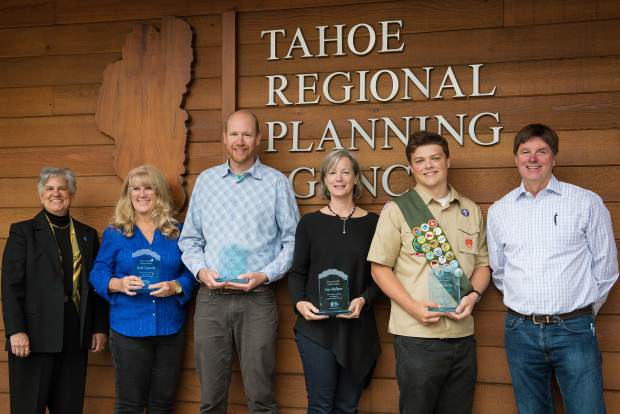 Tahoe Regional Planning Agency recently honored a group of locals with Spirit Awards. From left to right: Joanne Marchetta (TRPA), Beth Quandt, Ben Fish, Lisa Wallace and Casey Beyer (TRPA).