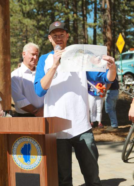 Tahoe Area Mountain Bike Association president Ben Fish displays his original concept drawing for the Bijou Bike Park. Fish was credited as the driving force behind the park's creation.