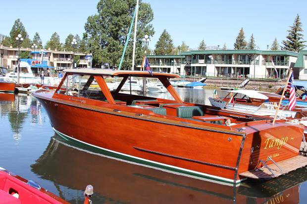 Tango, a 1960 Chris-Craft semi-enclosed Cruiser owned by Franc Casey and Dennis Maloney of Carnelian Bay, was one of more than 60 boats on display at the 8th annual South Tahoe Wooden Boat Classic held at the Tahoe Keys Marina on Friday and Saturday.