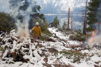 California State Parks will conduct pile burning in the Lake Tahoe Basin through May, weather permitting.