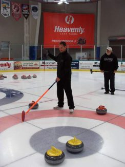 South Shore resident Ray Sidney plays a round of curling.