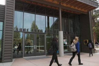 South Tahoe High School students walk in front of the new Tahoe Arts and Design Academy on Tuesday.