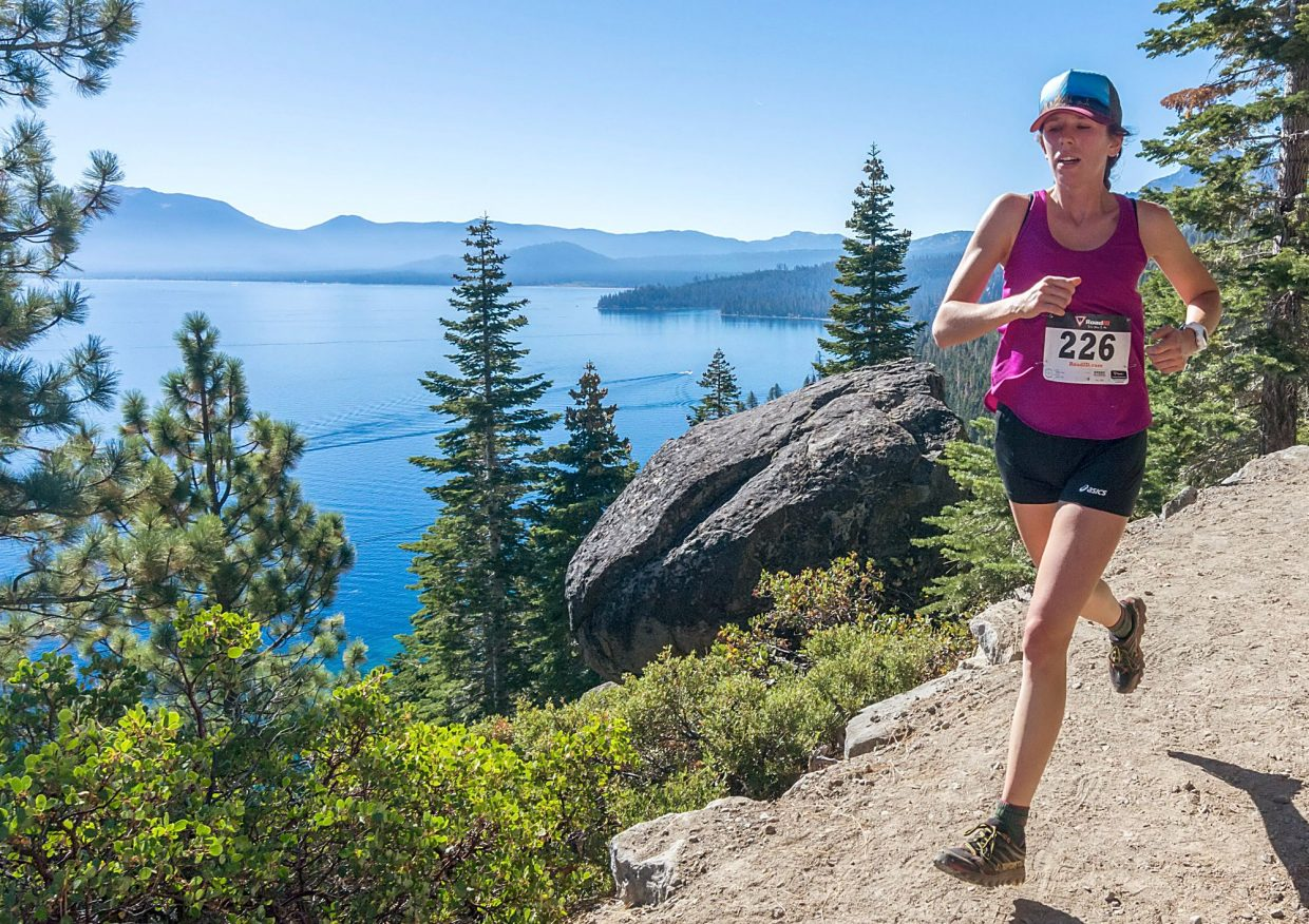 Kara Miffitt of South Lake Tahoe runs with Tahoe in the background during the Emerald Bay Trail Run on Sunday, Sept. 18. Miffitt finished ninth overall and was the second-fastest female runner.