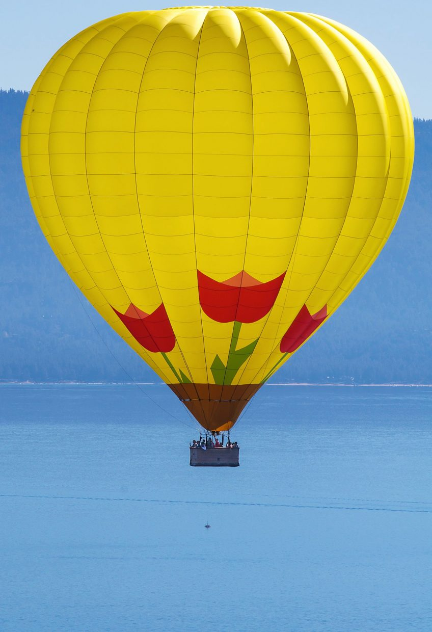 A hot air balloon overlooks the course during Sunday's Emerald Bay Trail Run.