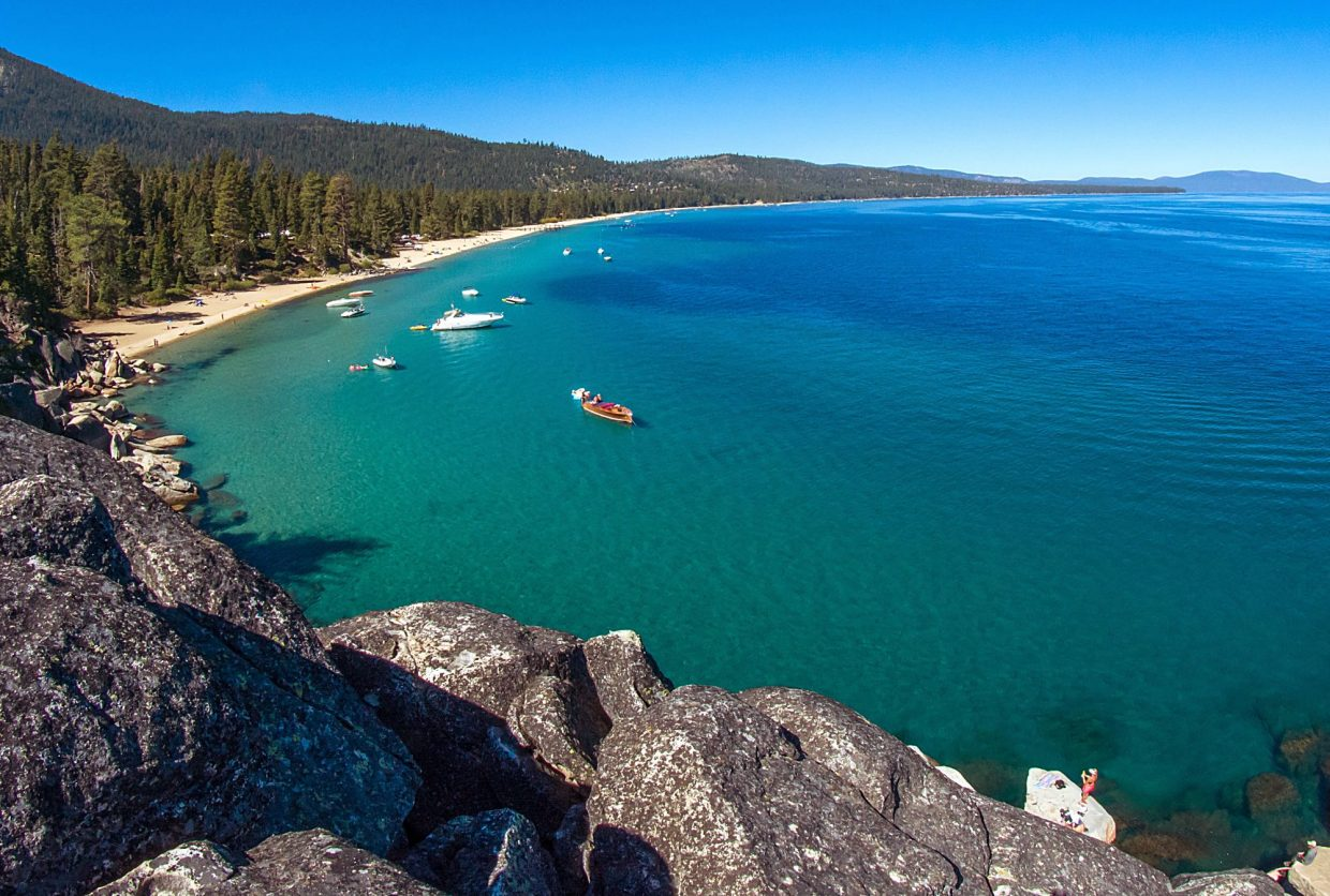 The Emerald Bay Trail Run ended at Lester Beach in D.L. Bliss State Park on Sunday.