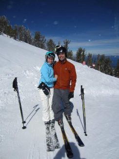 Dave and Jessica Schnoll pose for a picture on Heavenly, just moments after their engagement last year.