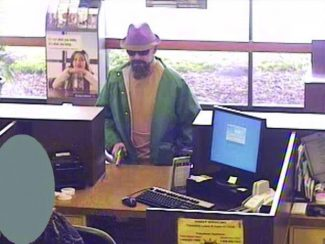 The Fedora Bandit is shown at a Bank of the West in Gridley, Calif., in 2010.