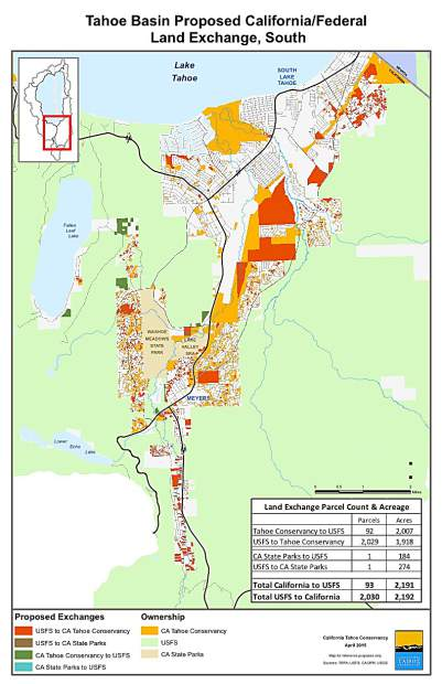 US Forest Service And California Tahoe Conservancy Propose - Lake tahoe on us map