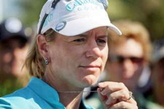 Annika Sorenstam, of Sweden, waits to give an interview after finishing the second round of the  LPGA ADT Championship at the Trump International Golf Club in 2008.