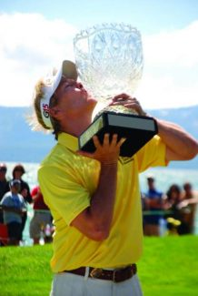 Jack Wagner kisses the American Century Cup after winningthe 2011 celebrity golf tournament. Wagner will return once again to compete in the American Century Championship at Edgewood Tahoe Golf Course on July 16-21.