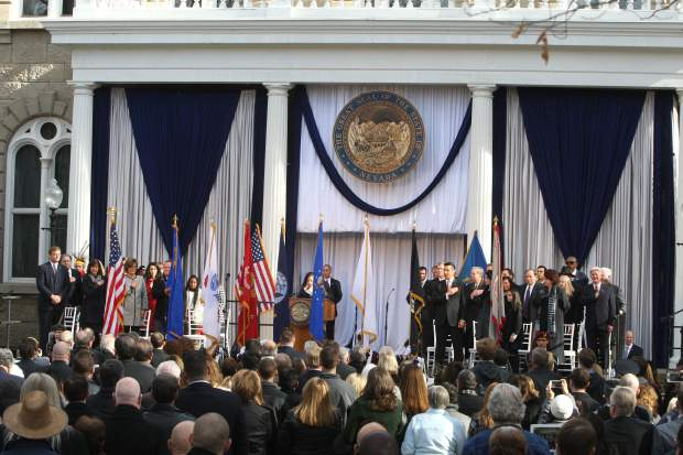 The Colors are presented to open the inaugural ceremony in front of the Capitol building on Monday.