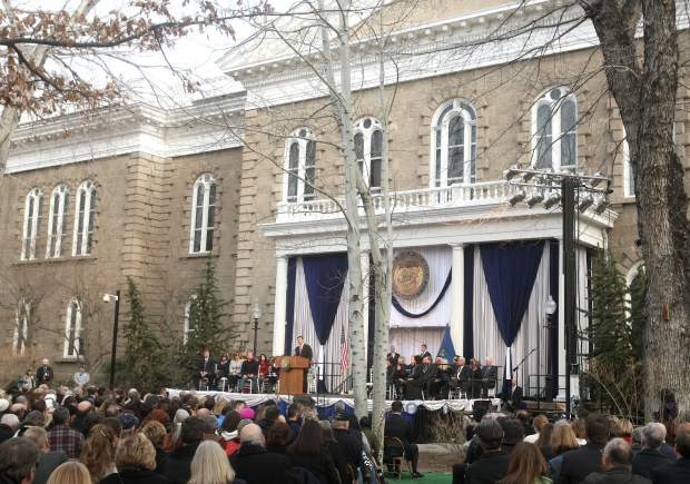 Hundreds of community members gather in front of the Capitol building for Gov. Sandoval's inaugural ceremony on Monday.
