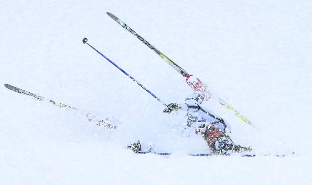 South Lake Tahoe's David Wise takes a tumble near the finish line at the Great Race. Wise finished 51st in the 428-skier field.