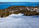 Heavenly's Ridge Run sports freshly groomed snow during warm conditions Thursday. The run features scenic vistas overlooking Lake Tahoe, and is one of the top spring trails at the resort.