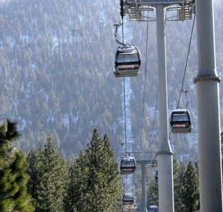 The gondola to Heavenly's ski resort sits empty in the wind Friday.