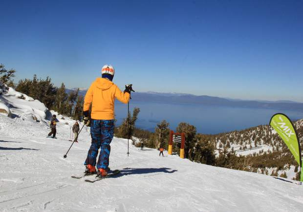 Skiers were treated to bluebird skies and mid-season conditions on the open slopes at Heavenly Saturday.