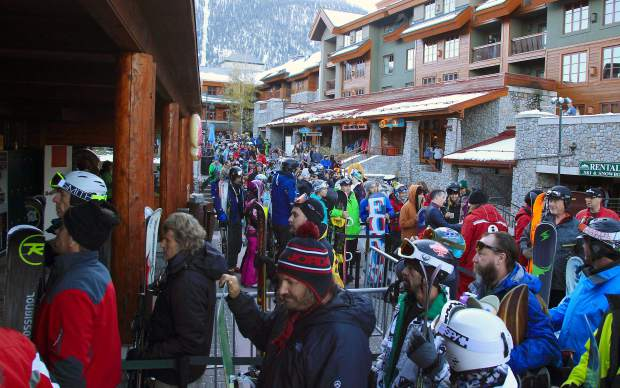 Hundreds of skiers lined up through Heavenly Village for the resort's 8:30 a.m. open. By 9 a.m. the line was gone, rewarding late arrivals with no wait.