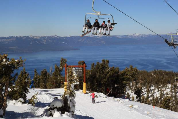 Eager skiers and snowboarders were greeted by bluebird skies for Heavenly Mountain Resort's opening day Saturday, Nov. 14. The mountain was able to open a week ahead of schedule thanks to early winter storms that blanketed the Tahoe Basin.