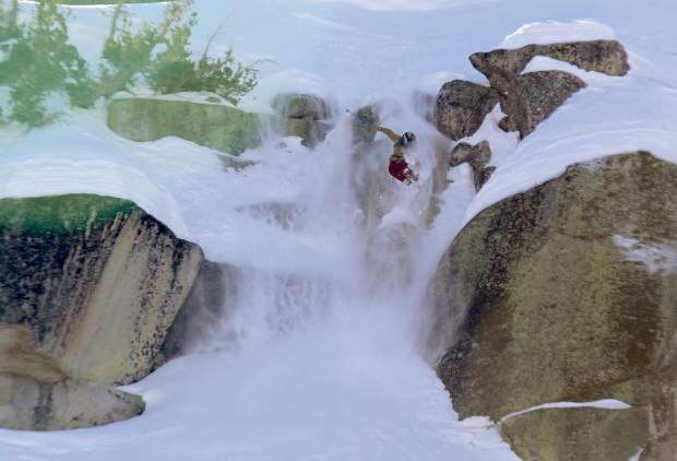 Sierra-at-Tahoe's Colby Albino drops a cliff in Huckleberry Canyon during big mountain competition last weekend.