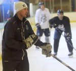 Tahoe Icemen head coach Mickey Lang gives instruction during practice Thursday, Sept. 29. The Icemen drop the puck for their fourth in South Lake Tahoe on Friday, Sept. 30.