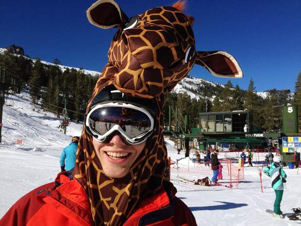 Christian Laurence, 17, gets into the opening day spirit with a giraffe costume at Kirkwood Mountain Resort on Saturday, Nov. 14.