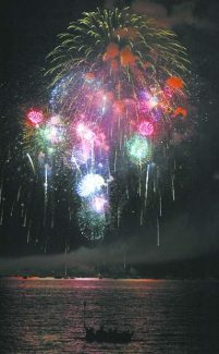 Fireworks are seen over Lake Tahoe in this file photo.