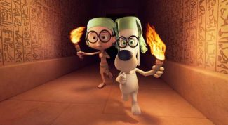 "This image released by DreamWorks Animation shows Sherman, voiced by Max Charles, left, and Mr. Peabody, voiced by Ty Burell, in a scene from ""Mr Peabody & Sherman."""
