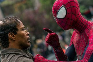 "This image released by Sony Pictures shows Jamie Foxx, left, and Andrew Garfield as Spider-Man in ""The Amazing Spider-Man 2."""