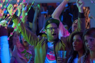 "This image released by Universal Pictures shows Seth Rogen in a scene from ""Neighbors."""