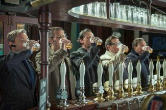 """This publicity image released by Focus Features shows, from left, Martin Freeman, Paddy Considine, Simon Pegg, Nick Frost, and Eddie Marsan in a scene from """"The World's End."""""""
