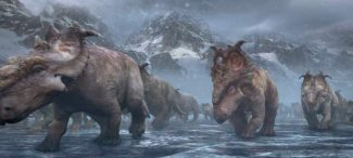 "In this image released by 20th Century Fox, Patchi, center, walks with the herd in a scene from the film, ""Walking With Dinosaurs."" (AP Photo/20th Century Fox)"