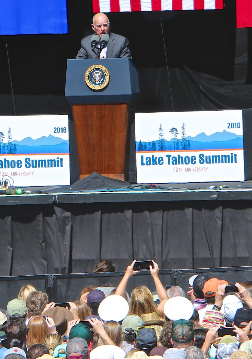 California Governor Jerry Brown speaks about Lake Tahoe Wednesday in Stateline.