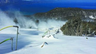 A photo shows snowmaking above Heavenly Mountain Resorts' Tamarack Lodge early this month.