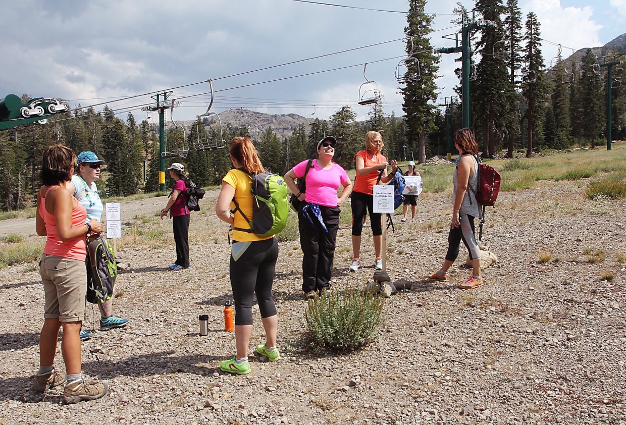 A group of women prepare to leave on a photography hike.