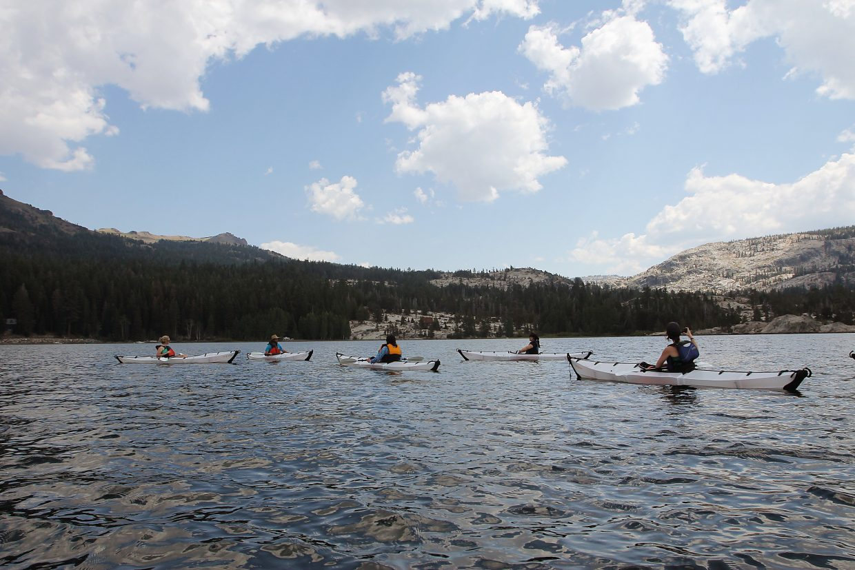 """The """"Kayaking Basics"""" class goes for a paddle on Silver Lake."""