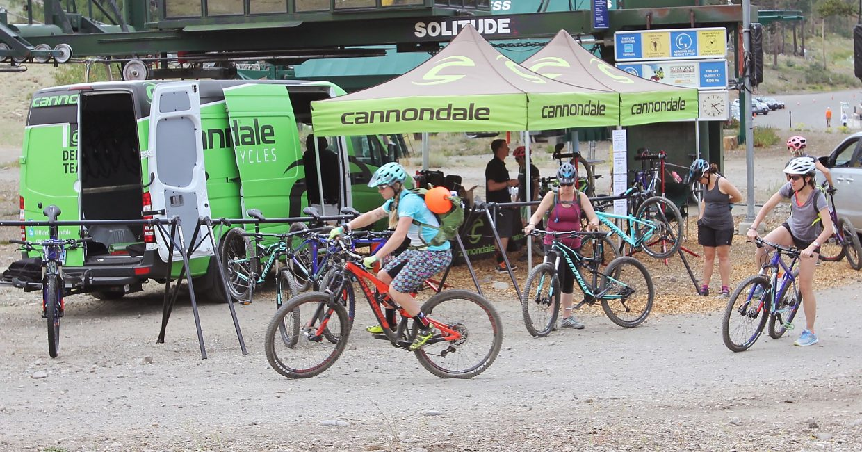 A mountain biking class prepares to hit the trails at Kirkwood Mountain Resort.