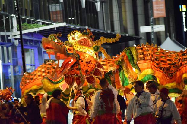 Parade members carry a dragon during Chinese New Year festivities in San Francisco.