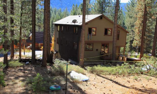 Fire from Saturday evening's plane crash was quickly contained through a joint response of four firefighting agencies. The single-engine plane is believed to have struck the tops of a few trees before crashing by a South Lake Tahoe residence (pictured).