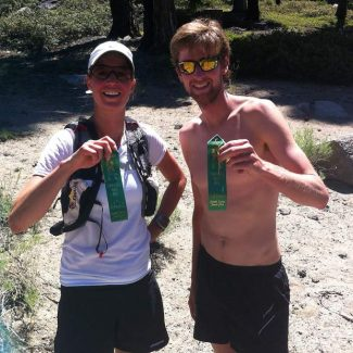 J.P. Donovan of Incline Village and Kari Long of Carson City holding their first-place ribbons after the Ponderosa Ridge Run Saturday.