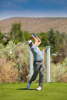 Ricky Barnes tees off during the Reno-Tahoe Pro-Am on Wednesday at Montreux Golf & Country Club. Barnes and his wife, former University of Nevada volleyball star Suzanne Stonebarger, are expected to move to the Martis Camp Club course in Truckee this month.