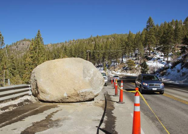A van-sized boulder rolled onto U.S. Highway 50 Saturday evening, Feb. 20, near Cave Rock, on Lake Tahoe's East Shore.