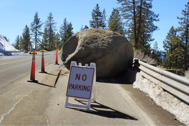 A van-sized boulder (pictured) rolled onto U.S. Highway 50 Saturday evening, near Cave Rock, on Lake Tahoe's East Shore. According to an NDOT press release, one vehicle was involved in an accident as a result. No injuries were reported. Nevada  Highway Patrol responded to the incident.