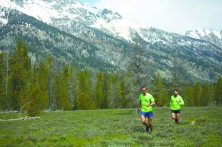 Mike Wolfe, left, and Hal Koerner train in the Tetons. The runners will attempt to set a new record on the John Muir Trail this weekend.