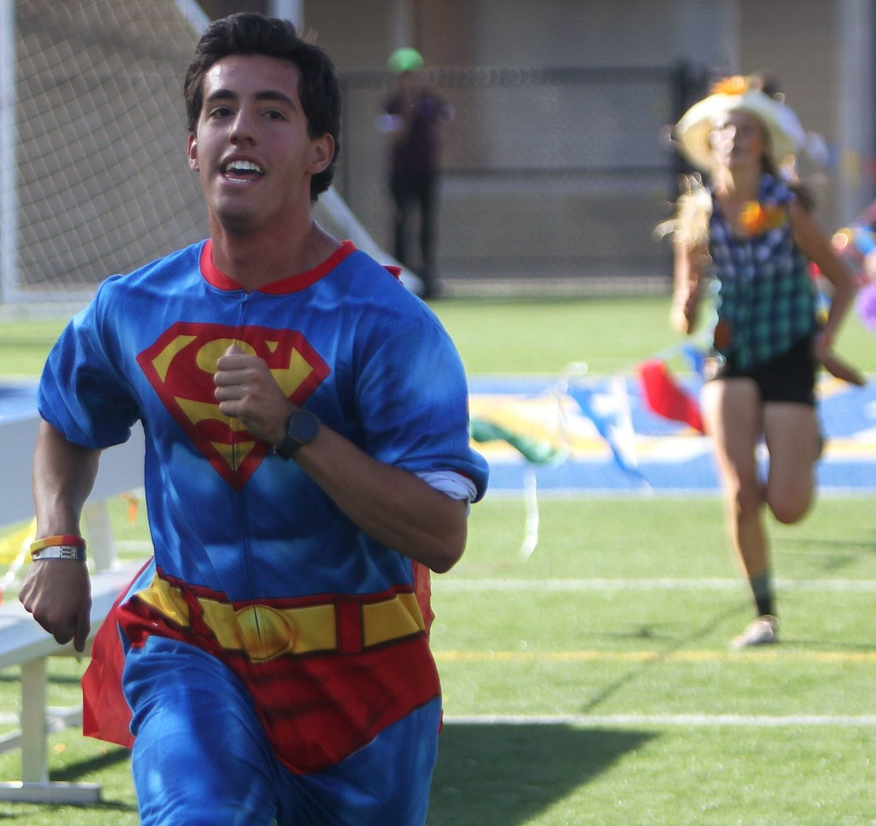 Superman strides into Viking Stadium on Tuesday.